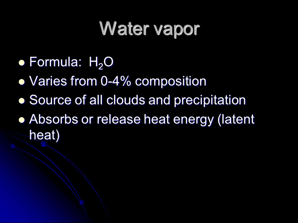 Water vapor Formula: H2O Varies from 0-4% composition