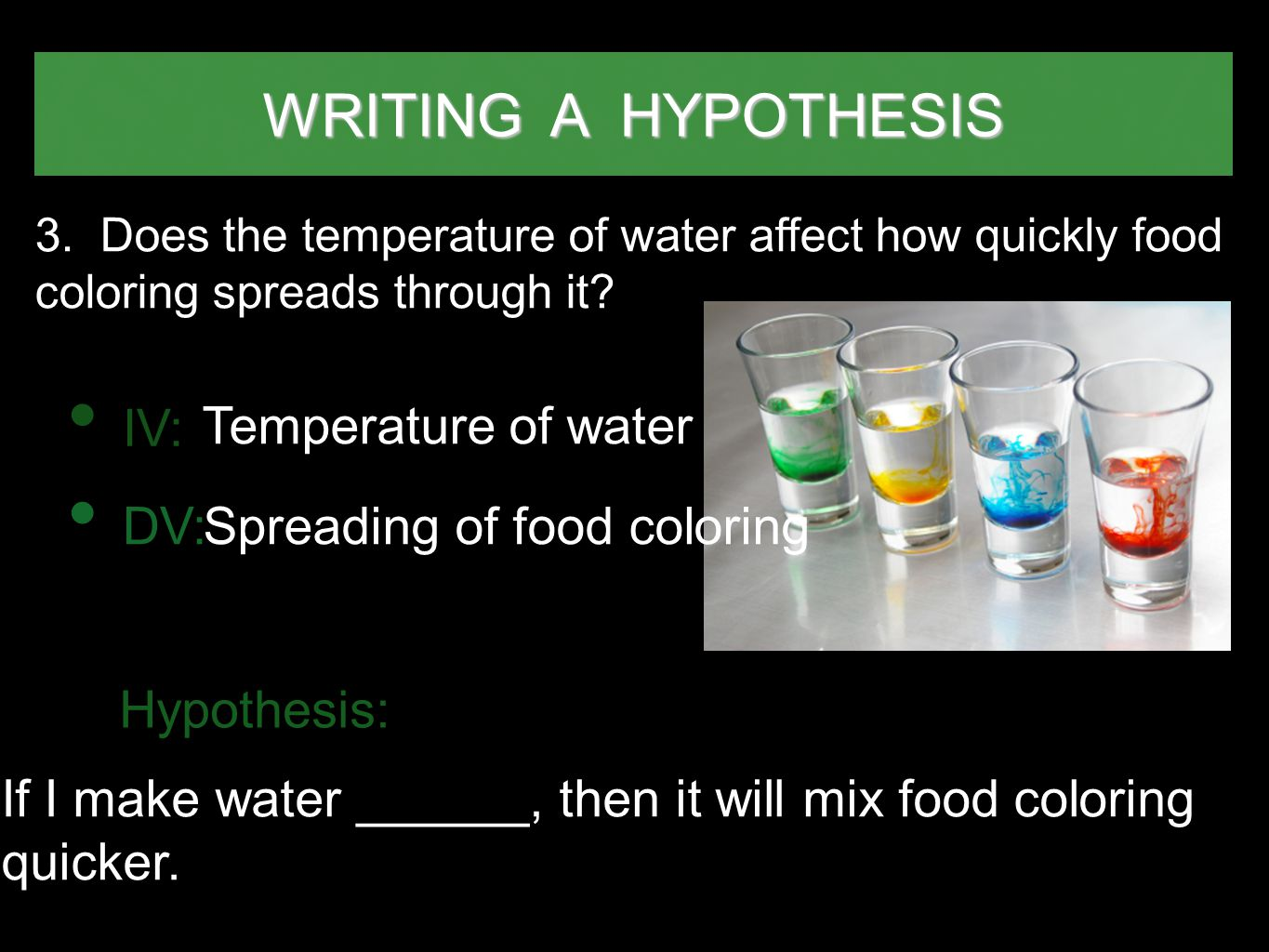 Spreading of food coloring