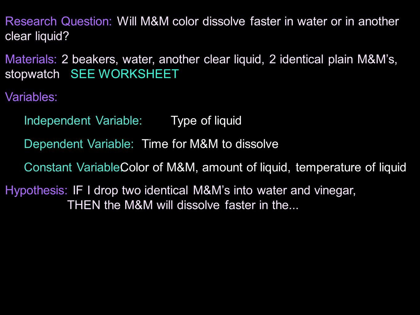 Independent Variable: Type of liquid