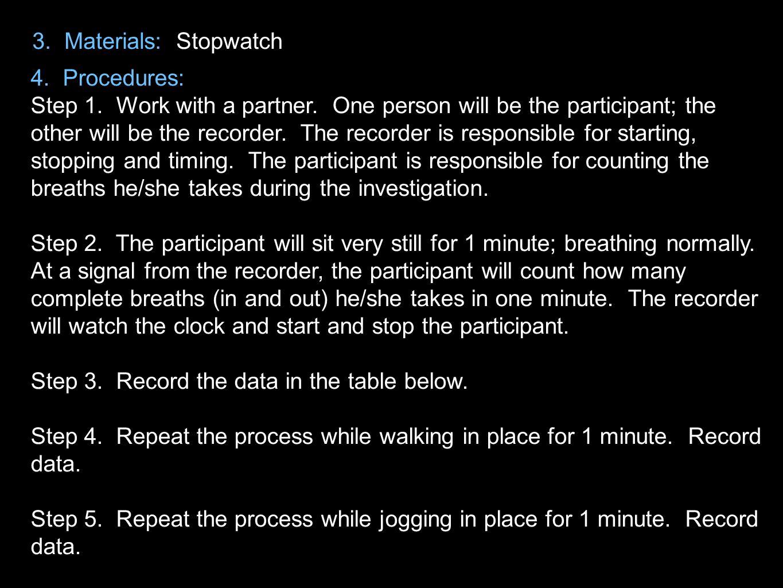 3. Materials: Stopwatch 4. Procedures: