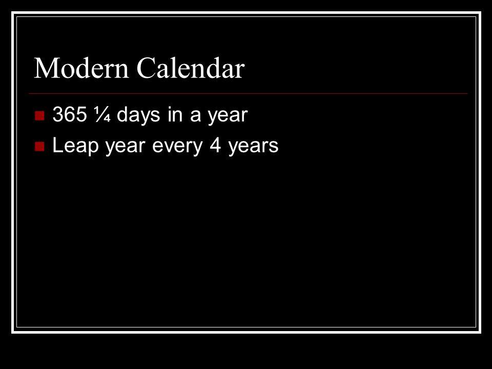Modern Calendar 365 ¼ days in a year Leap year every 4 years