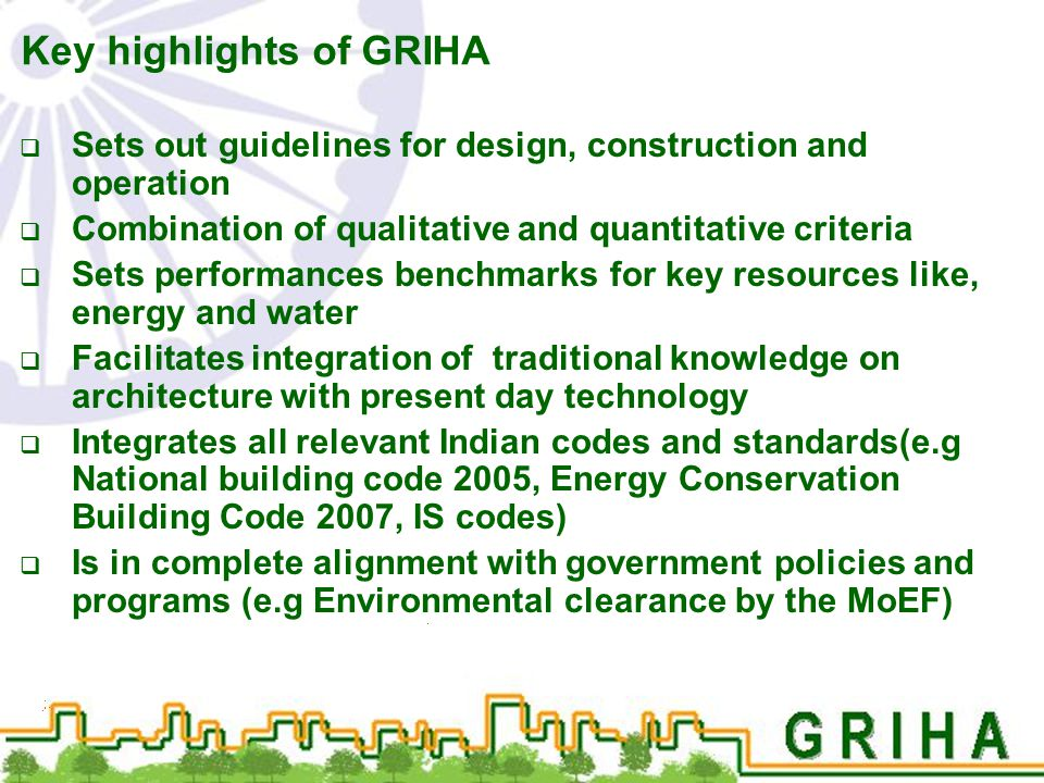 Key highlights of GRIHA