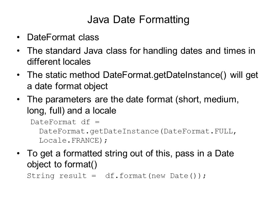 Java Date Formatting DateFormat class