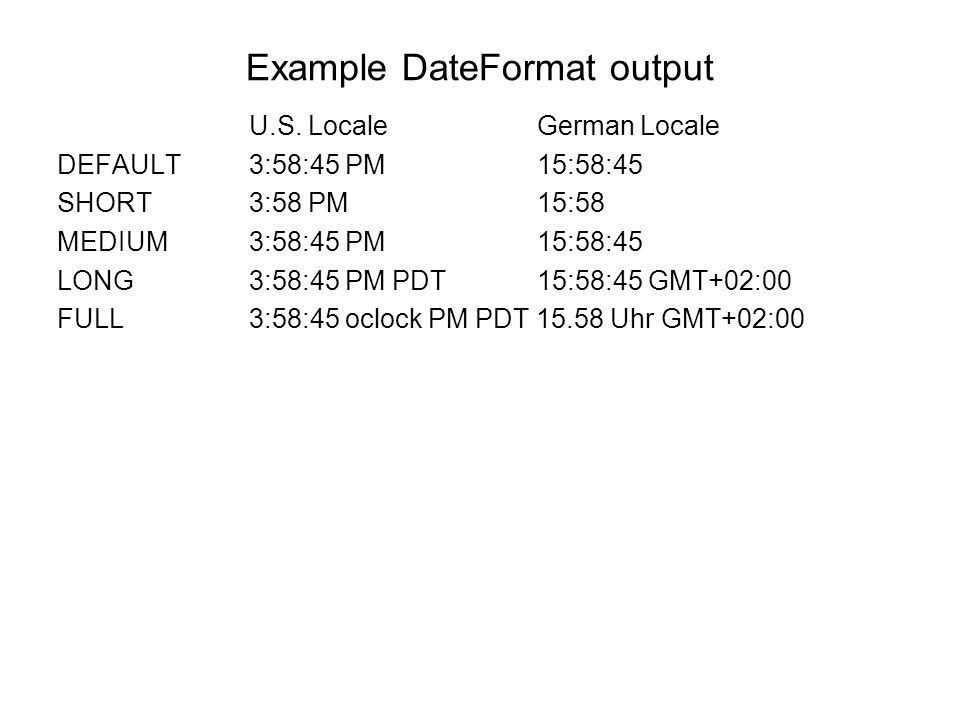 Example DateFormat output
