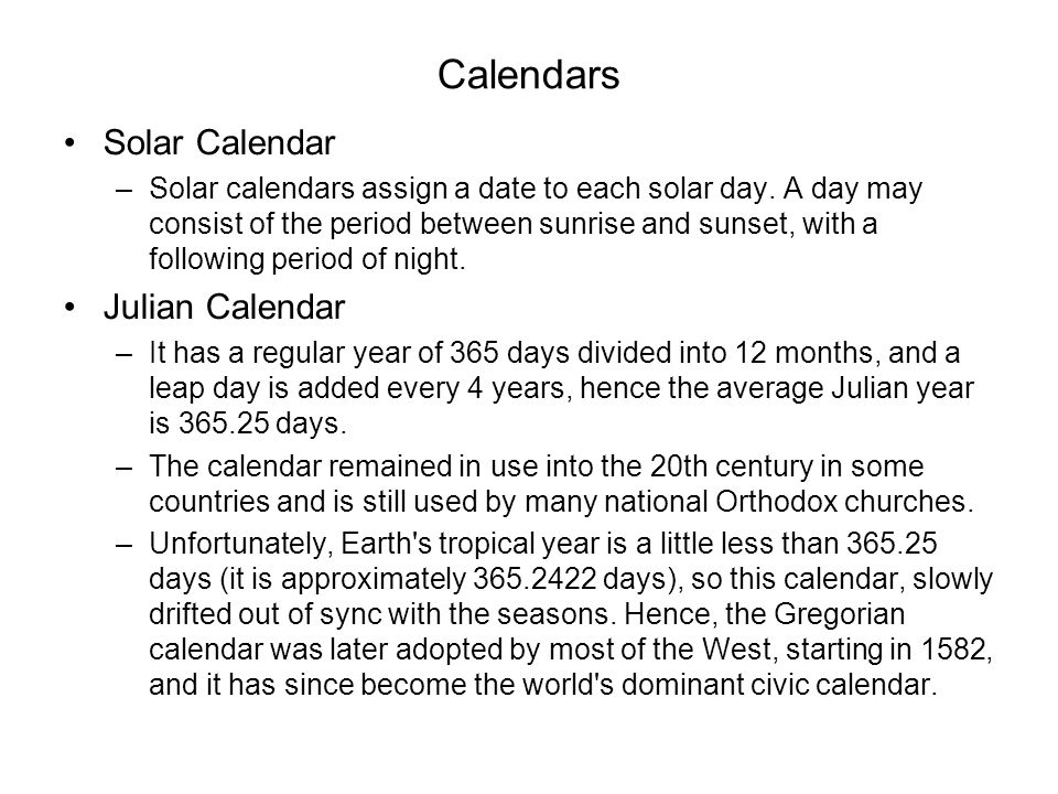 Calendars Solar Calendar Julian Calendar