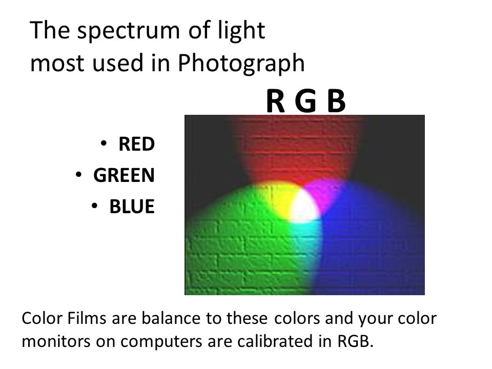 The spectrum of light most used in Photograph
