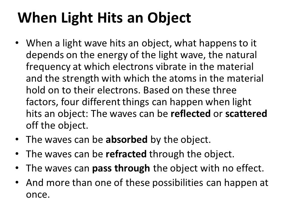 When Light Hits an Object