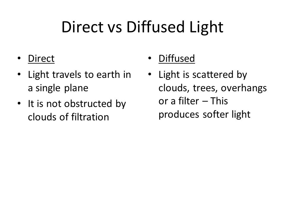 Direct vs Diffused Light
