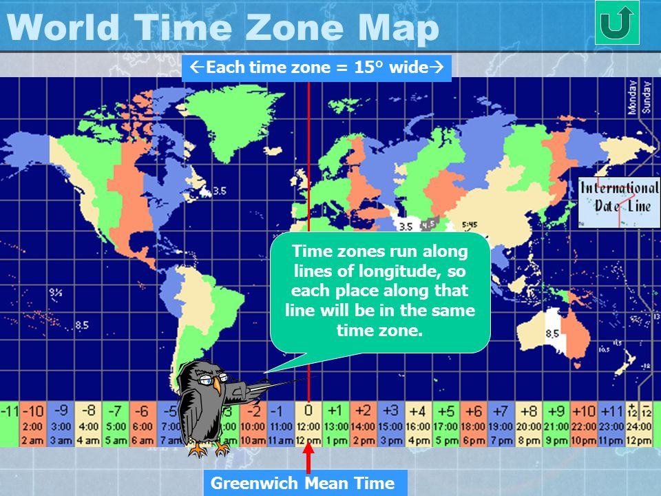World Time Zone Map Each time zone = 15° wide