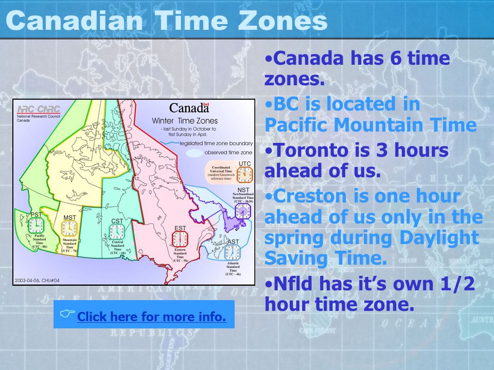Canadian Time Zones Canada has 6 time zones.