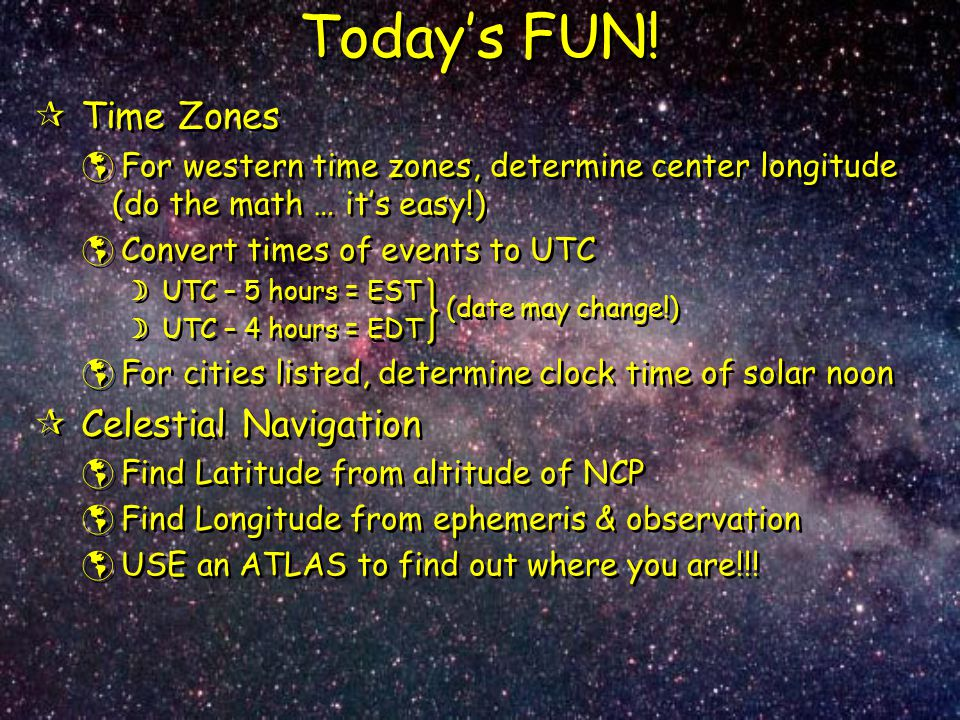 Today's FUN! Time Zones Celestial Navigation