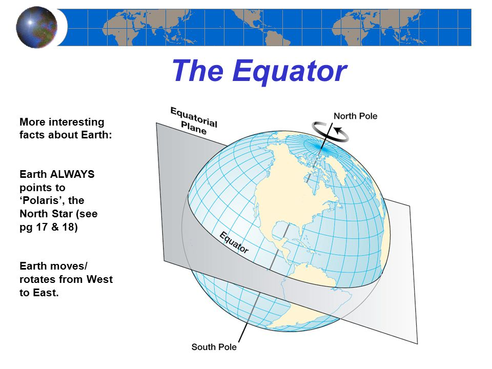 The Equator More interesting facts about Earth: