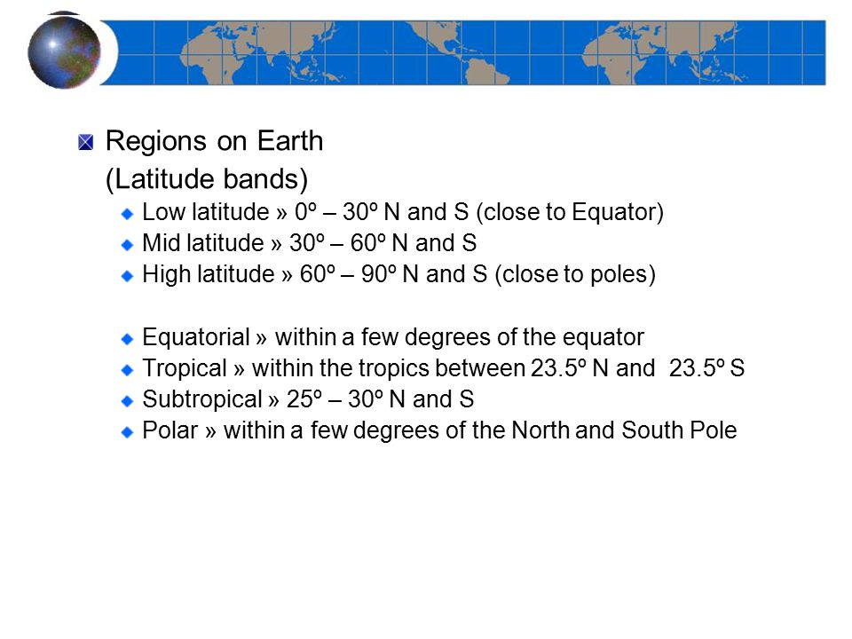Regions on Earth (Latitude bands)
