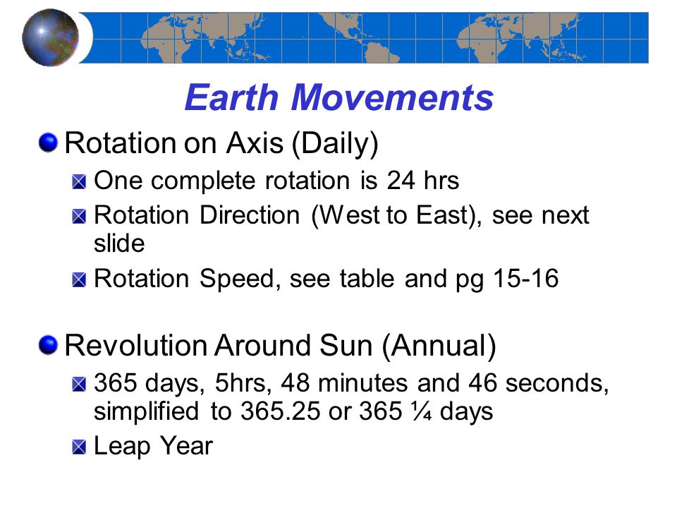 Earth Movements Rotation on Axis (Daily)