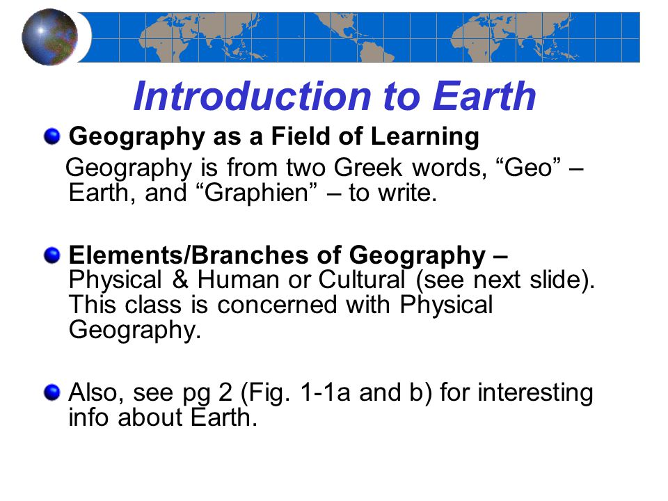 Introduction to Earth Geography as a Field of Learning