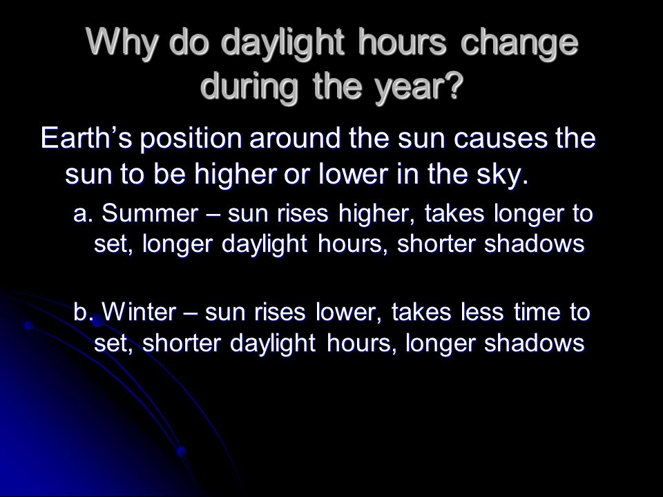 Why do daylight hours change during the year