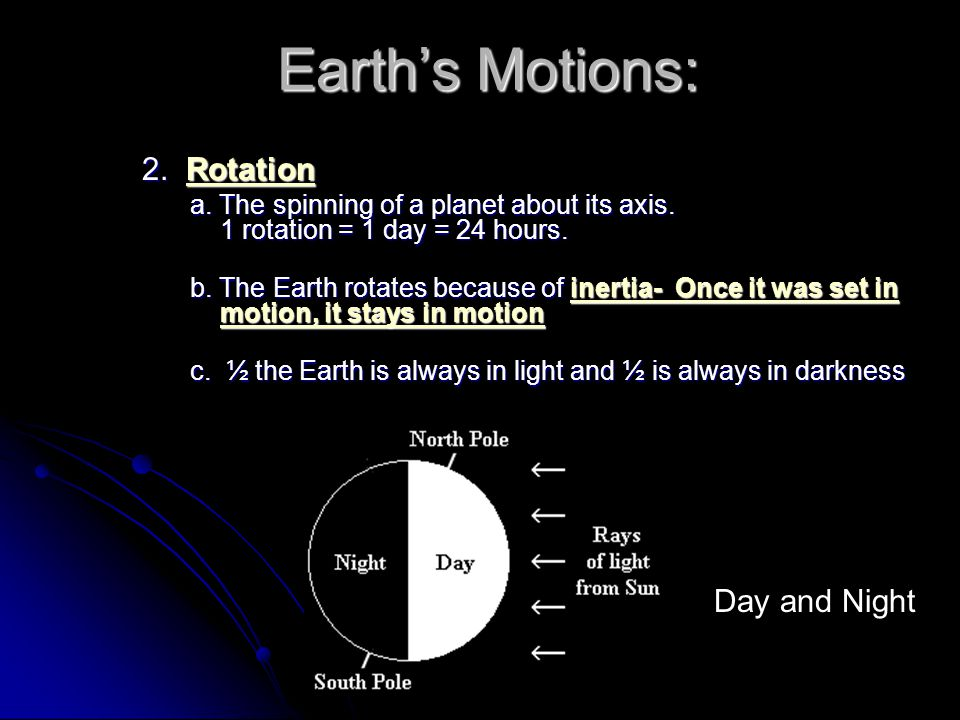 Earth's Motions: 2. Rotation Day and Night