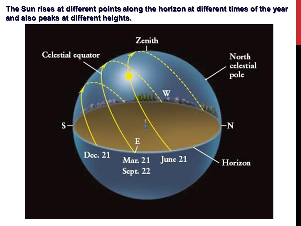 The Sun rises at different points along the horizon at different times of the year and also peaks at different heights.
