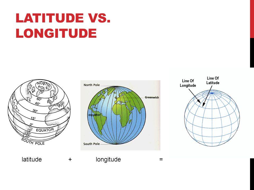 Latitude vs. Longitude latitude + longitude =