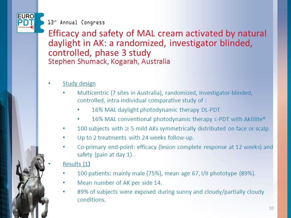 Efficacy and safety of MAL cream activated by natural daylight in AK: a randomized, investigator blinded, controlled, phase 3 study