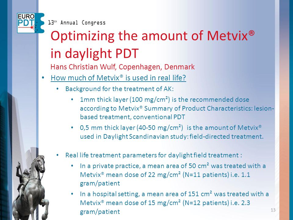 Optimizing the amount of Metvix® in daylight PDT