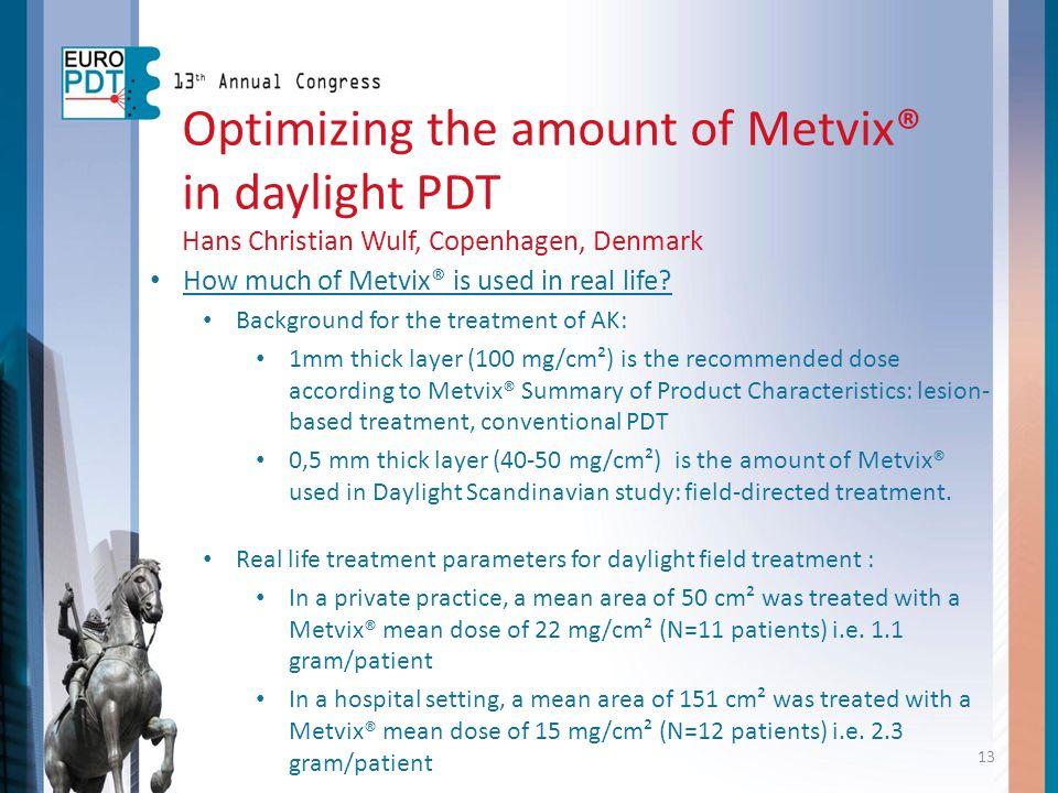 Optimizing the amount of Metvix® in daylight PDT