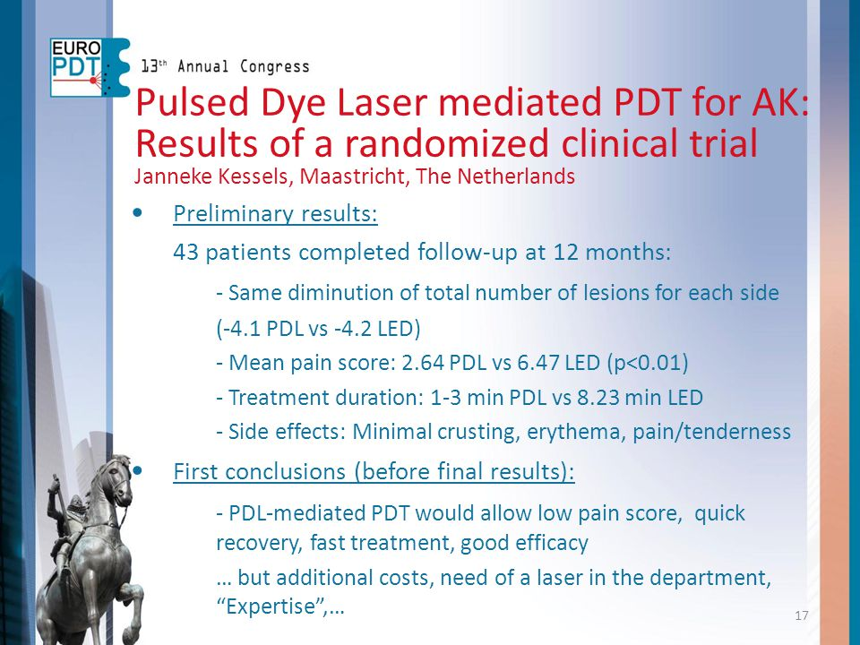 Pulsed Dye Laser mediated PDT for AK: Results of a randomized clinical trial