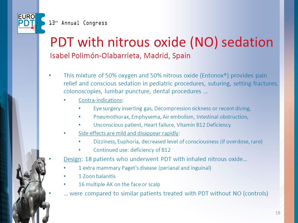 PDT with nitrous oxide (NO) sedation