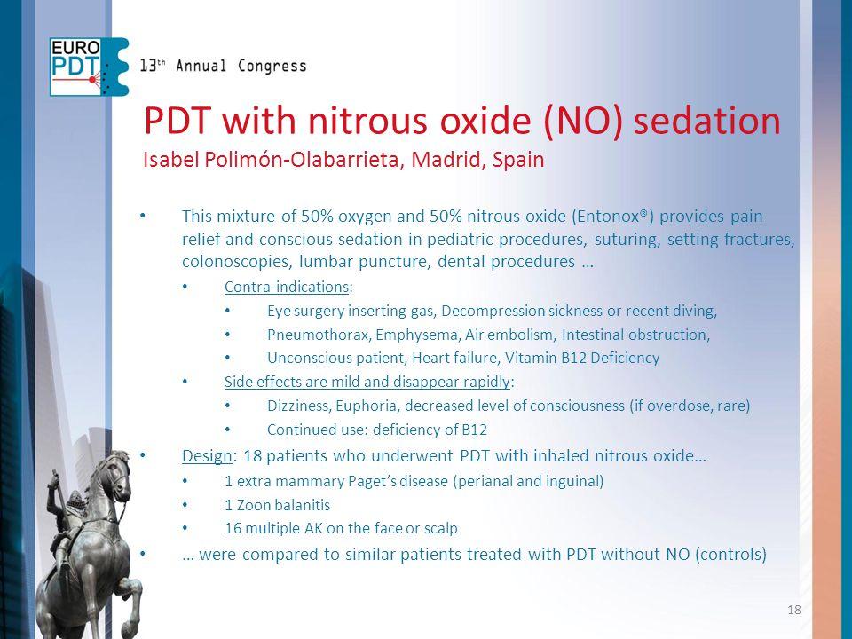 PDT with nitrous oxide (NO) sedation