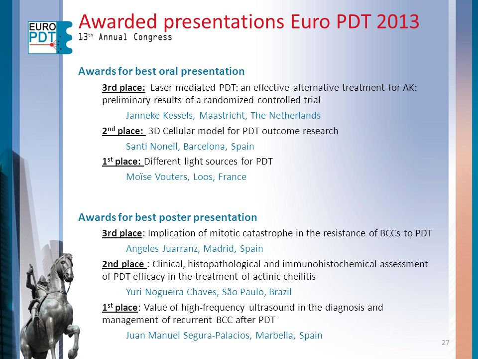 Awarded presentations Euro PDT 2013