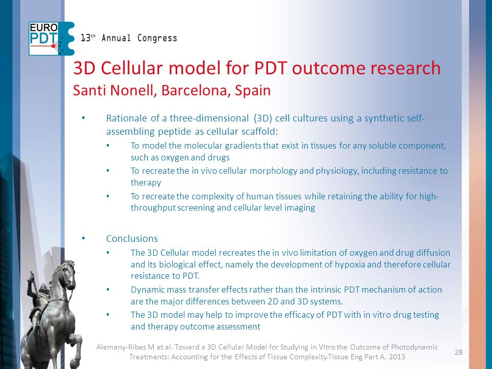 3D Cellular model for PDT outcome research