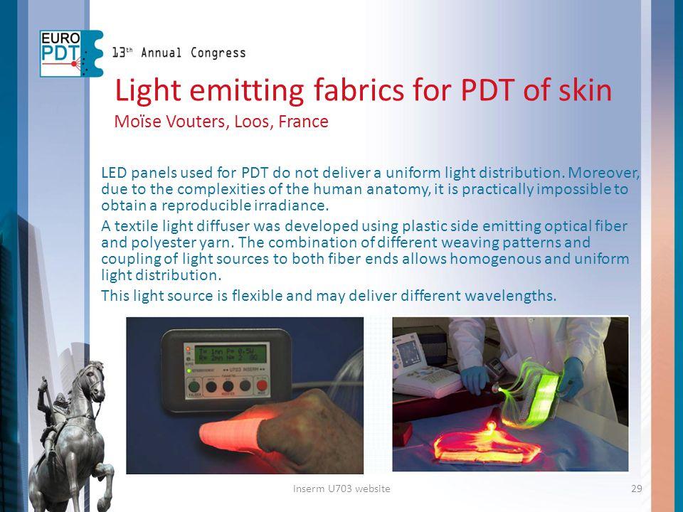 Light emitting fabrics for PDT of skin