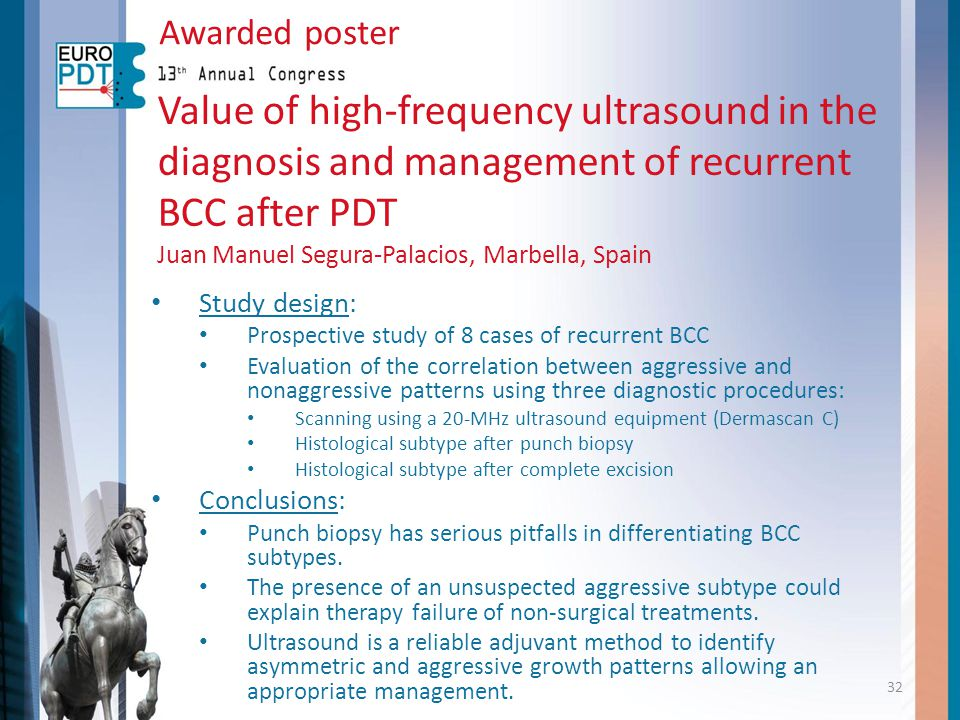 Awarded poster Value of high-frequency ultrasound in the diagnosis and management of recurrent BCC after PDT.