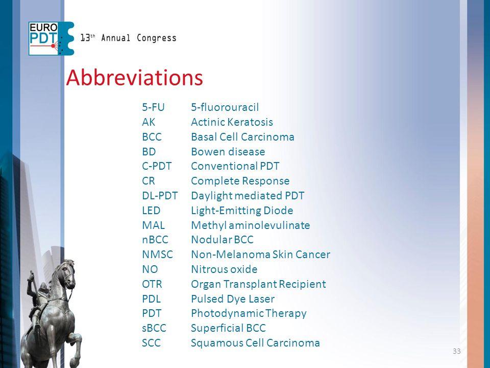 Abbreviations 5-FU 5-fluorouracil AK Actinic Keratosis