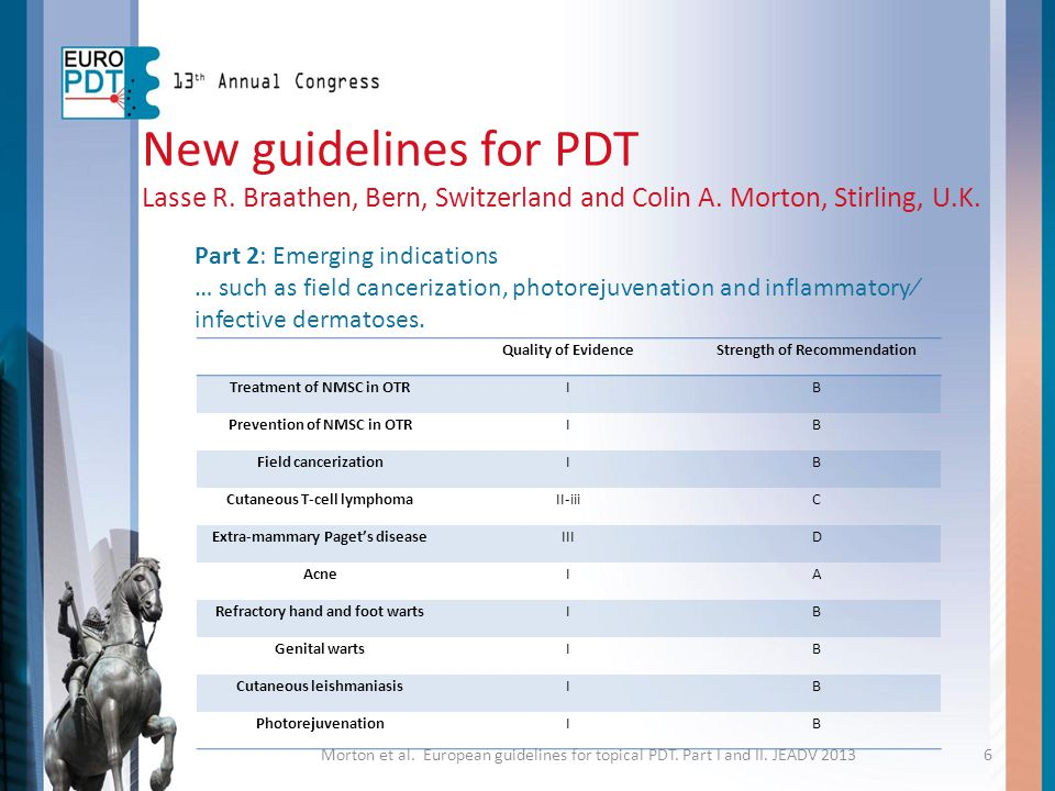 New guidelines for PDT Lasse R. Braathen, Bern, Switzerland and Colin A. Morton, Stirling, U.K. Part 2: Emerging indications.