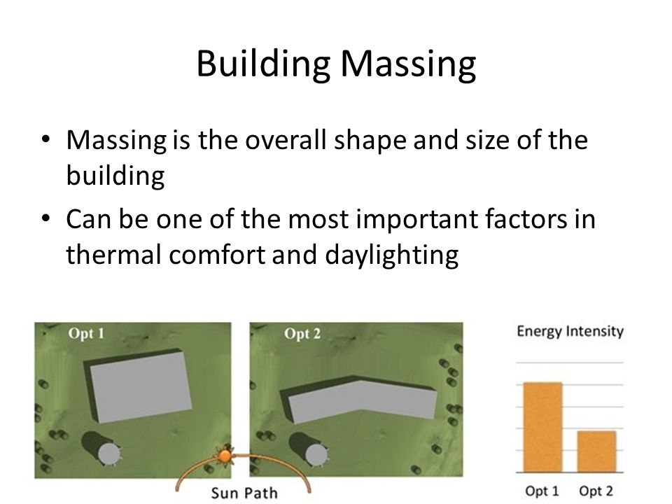 Building Massing Massing is the overall shape and size of the building