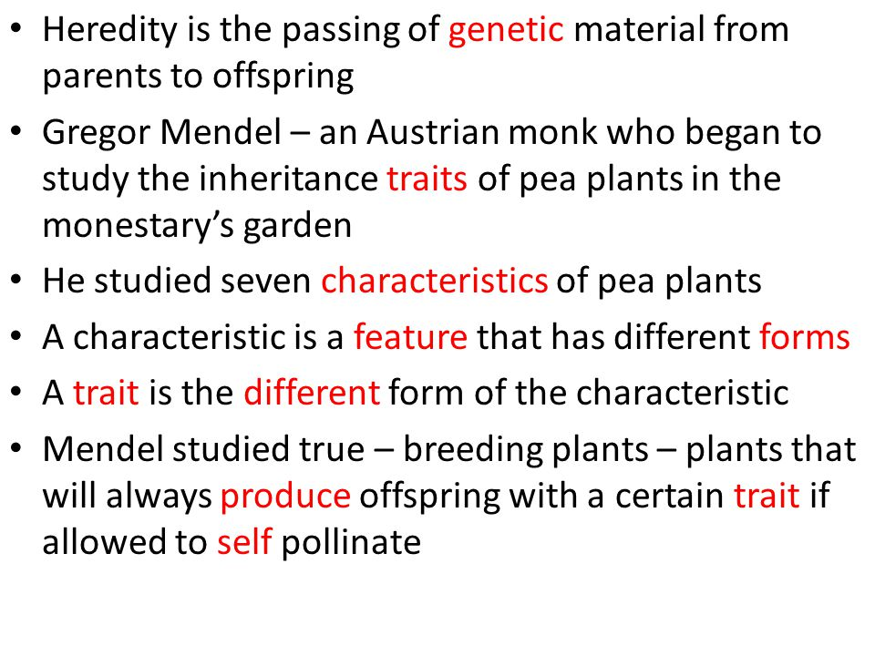 Heredity is the passing of genetic material from parents to offspring