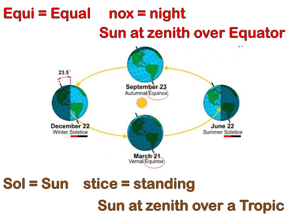 Equi = Equal nox = night Sun at zenith over Equator.