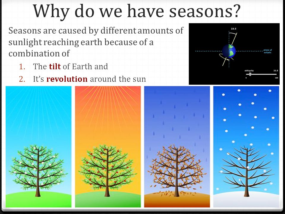 Why do we have seasons Seasons are caused by different amounts of sunlight reaching earth because of a combination of.