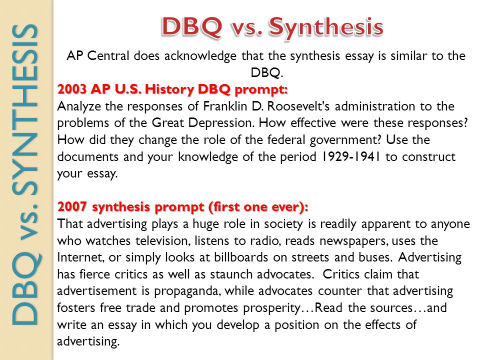 DBQ vs. SYNTHESIS DBQ vs. Synthesis