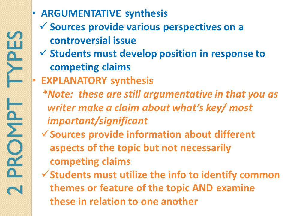 2 PROMPT TYPES ARGUMENTATIVE synthesis