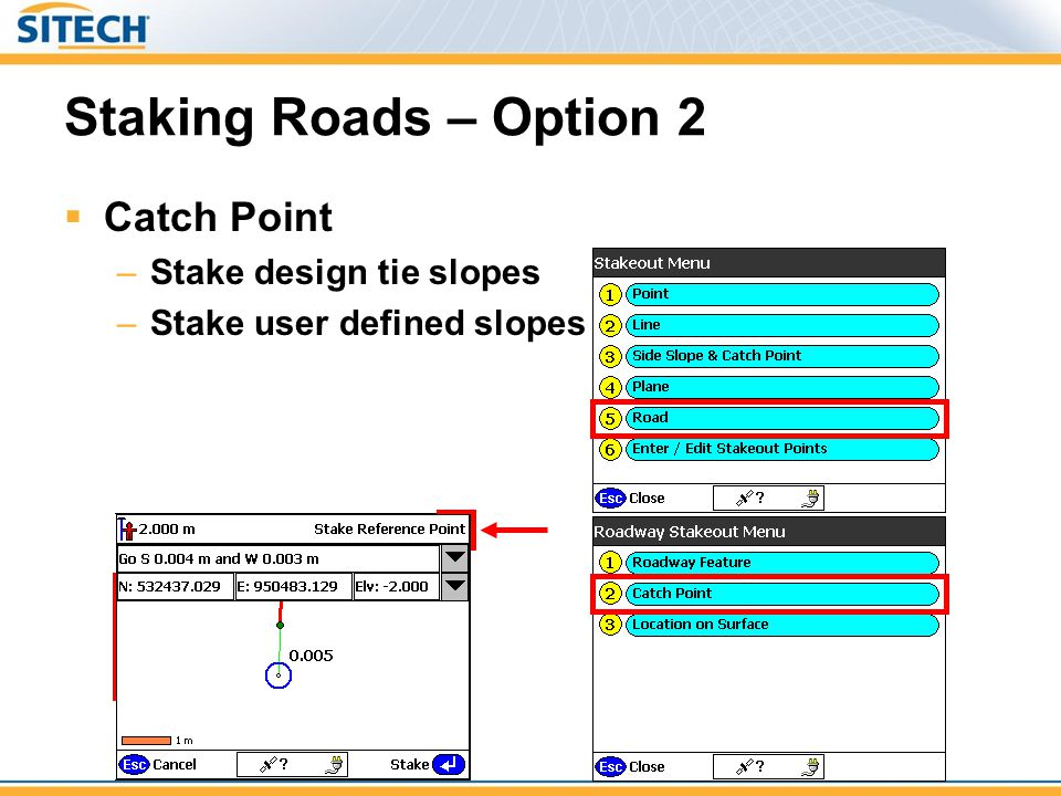 Staking Roads – Option 2 Catch Point Stake design tie slopes