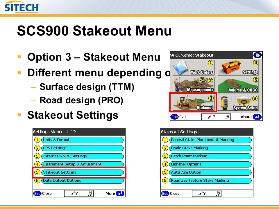 SCS900 Stakeout Menu Option 3 – Stakeout Menu