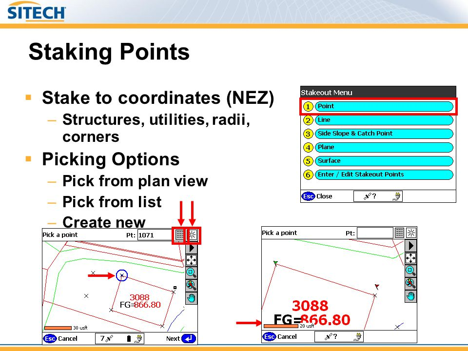 Staking Points Stake to coordinates (NEZ) Picking Options