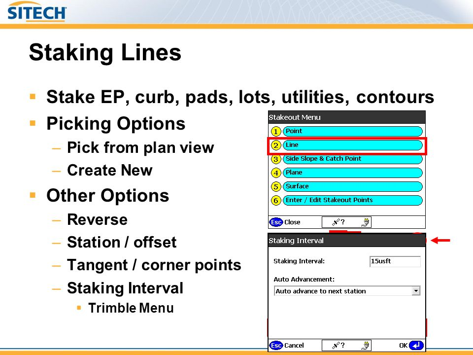 Staking Lines Stake EP, curb, pads, lots, utilities, contours