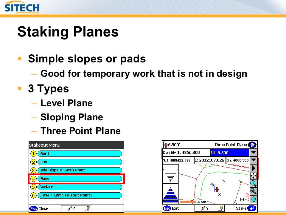 Staking Planes Simple slopes or pads 3 Types