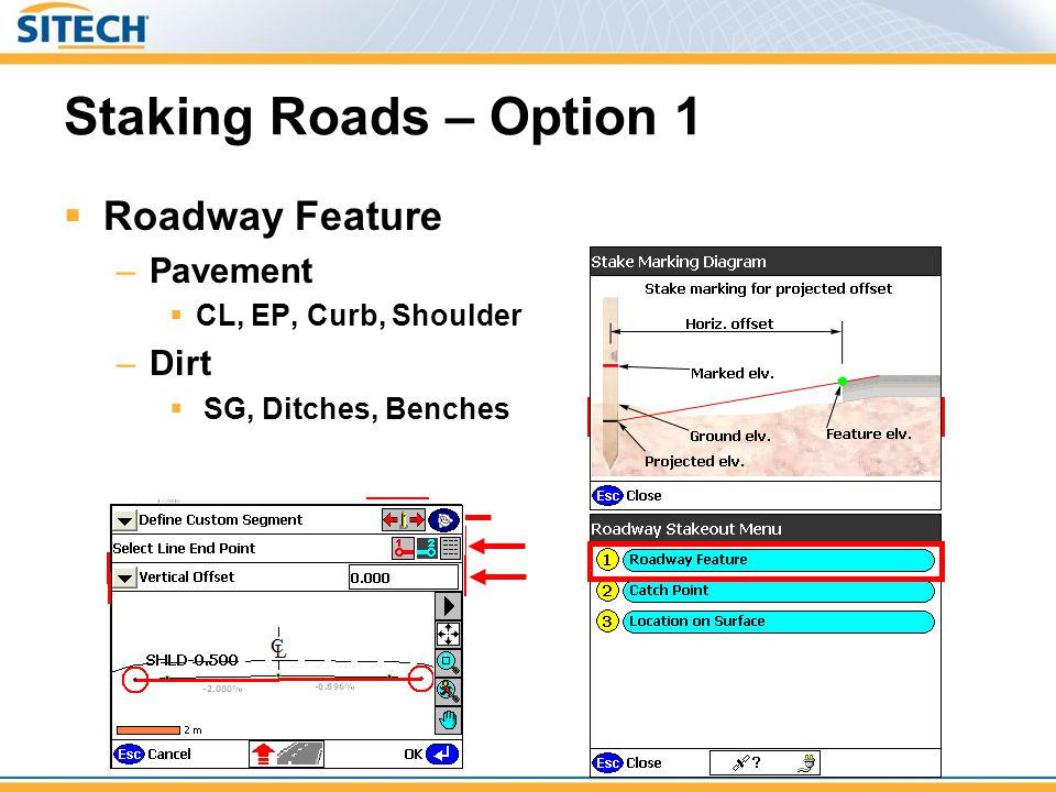 Staking Roads – Option 1 Roadway Feature Pavement Dirt