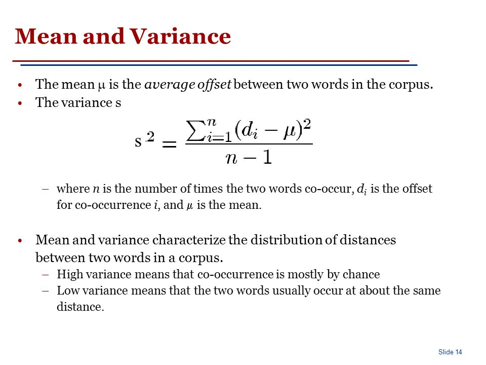 Mean and Variance: An Example