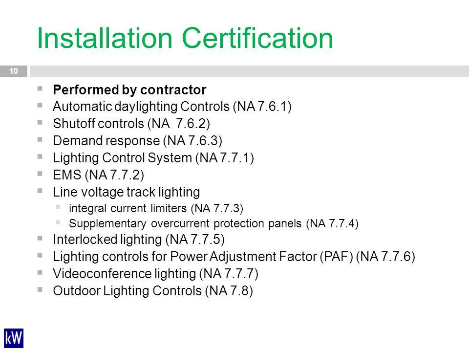 Installation Certification