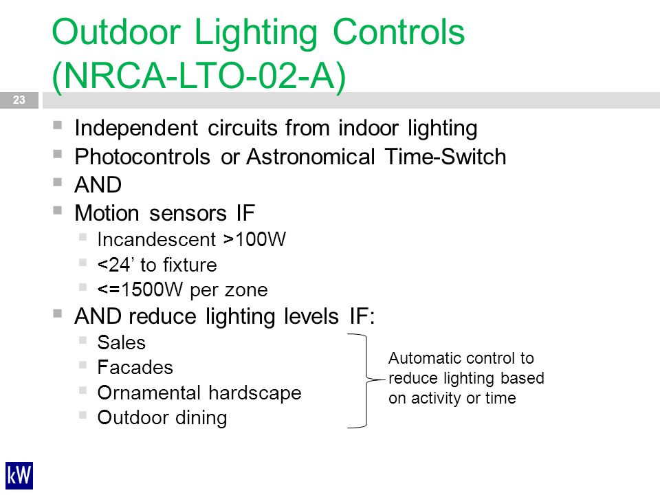 Outdoor Lighting Controls (NRCA-LTO-02-A)